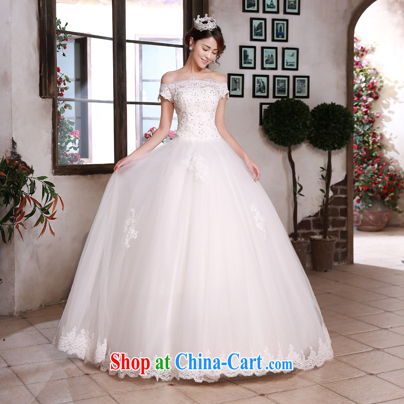 Honey, bride wedding dresses Korean style 2015 New Field shoulder collar with lace elegant antique large code beauty graphics thin wedding white XXL, honey, bride, shopping on the Internet