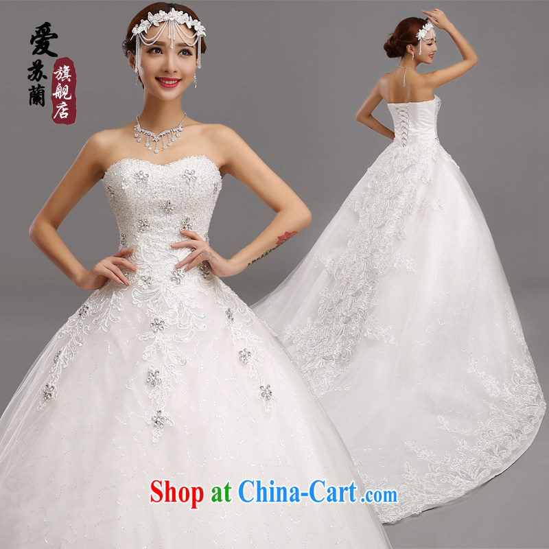 New Foreign Trade high wedding, super dream big-tail wedding, bridal wedding photography wedding drag and drop tail beauty graphics thin lace long-tail white-tail wedding. size does not return does not switch