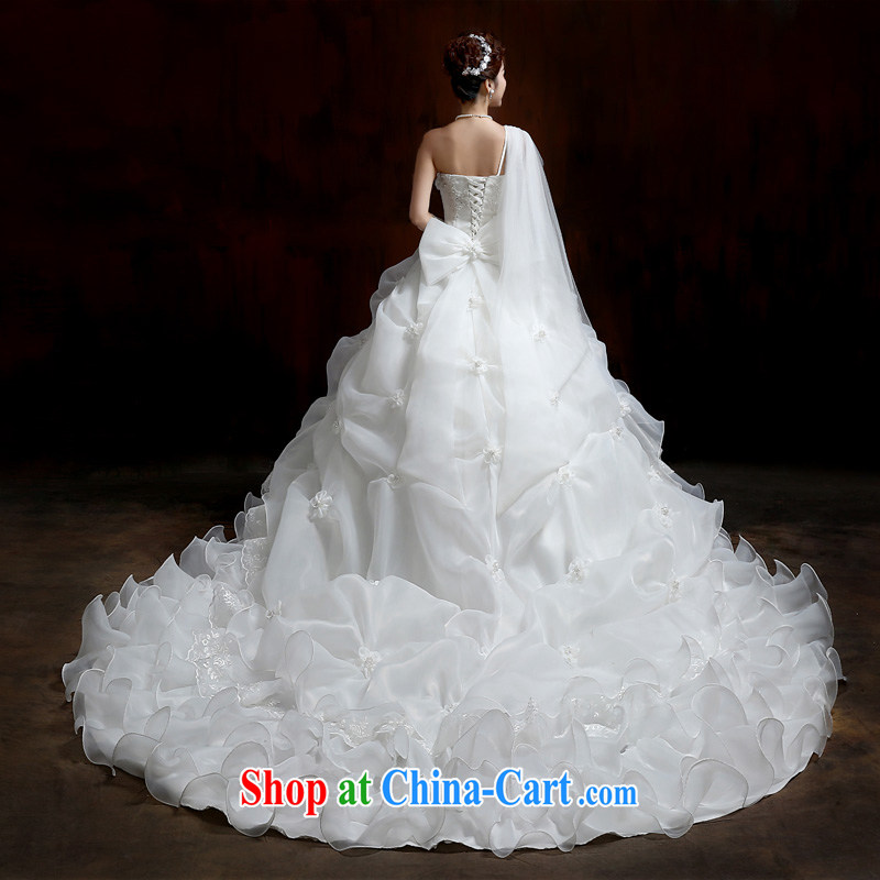 Su Wu edge 2015 new single shoulder flowers with Wedding Video thin white tail wedding dresses shaggy dress white tail XL