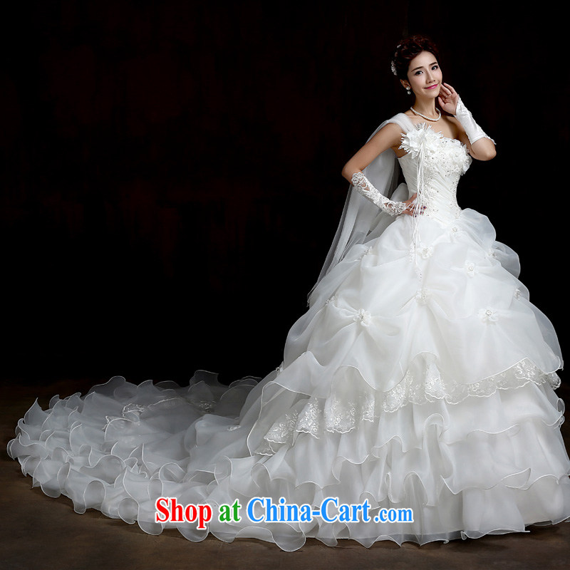 Su Wu edge 2015 new single shoulder flowers with Wedding Video thin white tail wedding dresses shaggy dress white tail XL, Su Xiang, and, shopping on the Internet