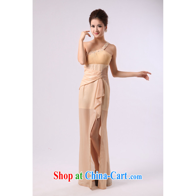 Long, the forklift truck bridal wedding dress uniform toast choral service long skirt command Stage service moderator clothing light yellow custom