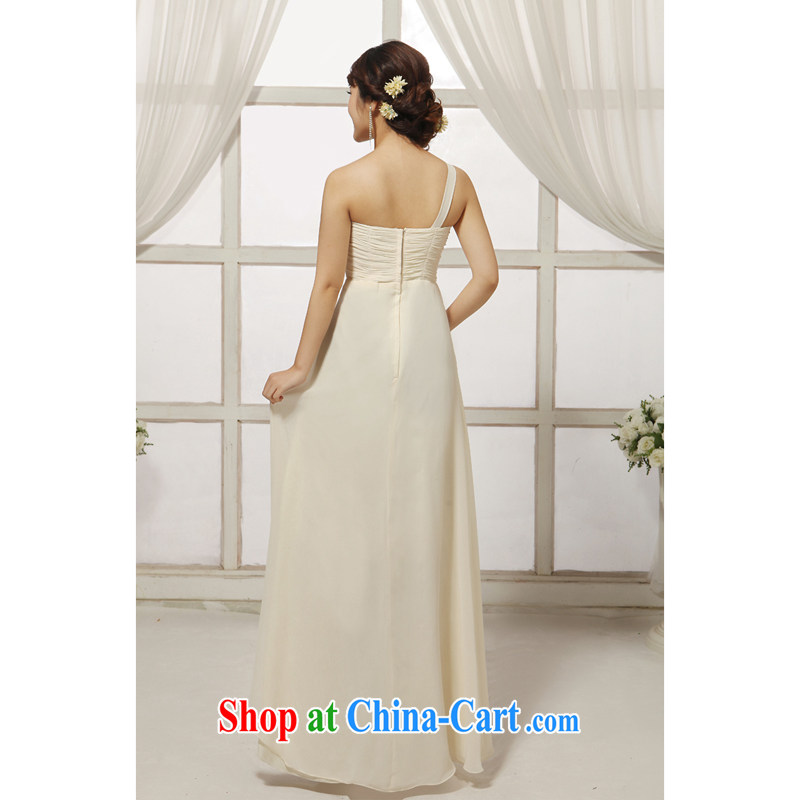 Her spirit (yanling) new, fashionable long evening dress bridal dresses serving toast the dress beige XXXL