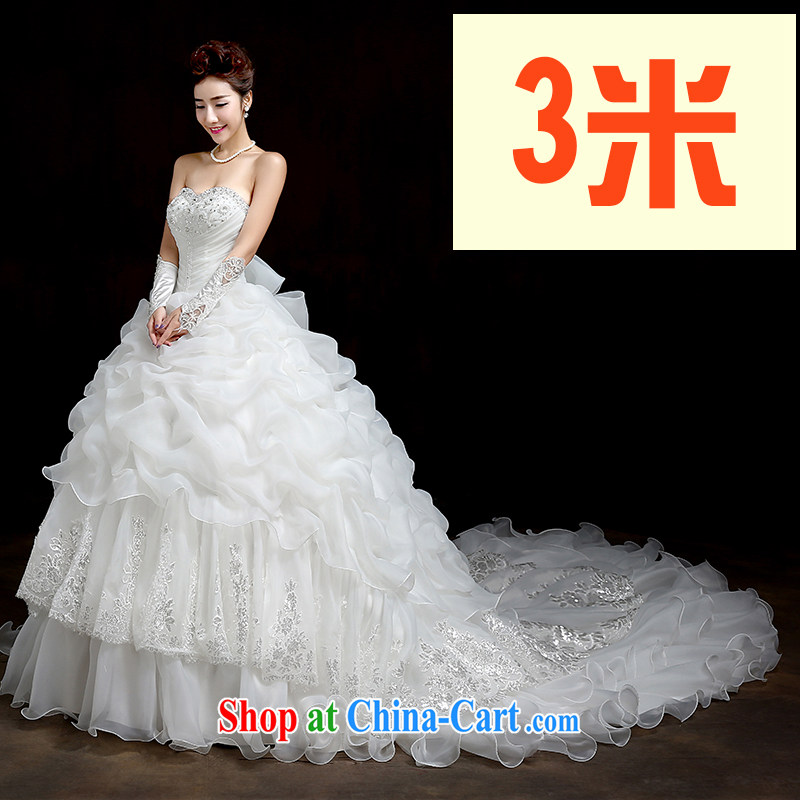Su Wu edge 2015 new erase chest Korean tail wedding bridal wedding video thin with stylish tie-down the wedding white 3M tail XL