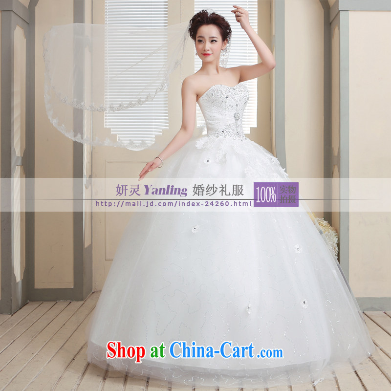 Her spirit/YANLING Korean wiped his chest bridal wedding dresses and ladies elegantly tied with 14,008 white customization