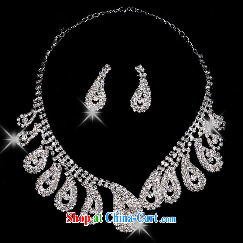 married love bridal jewelry silver plated water diamond necklace earrings two-piece makeup wedding dresses with white