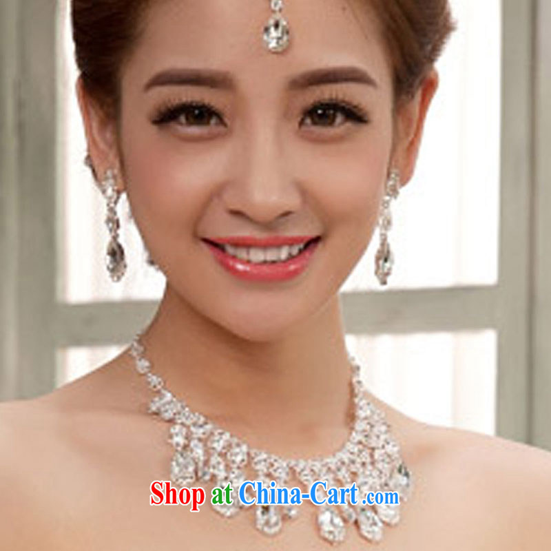 married love 2 piece jewelry Korean package bridal necklace earrings set marriage jewelry white