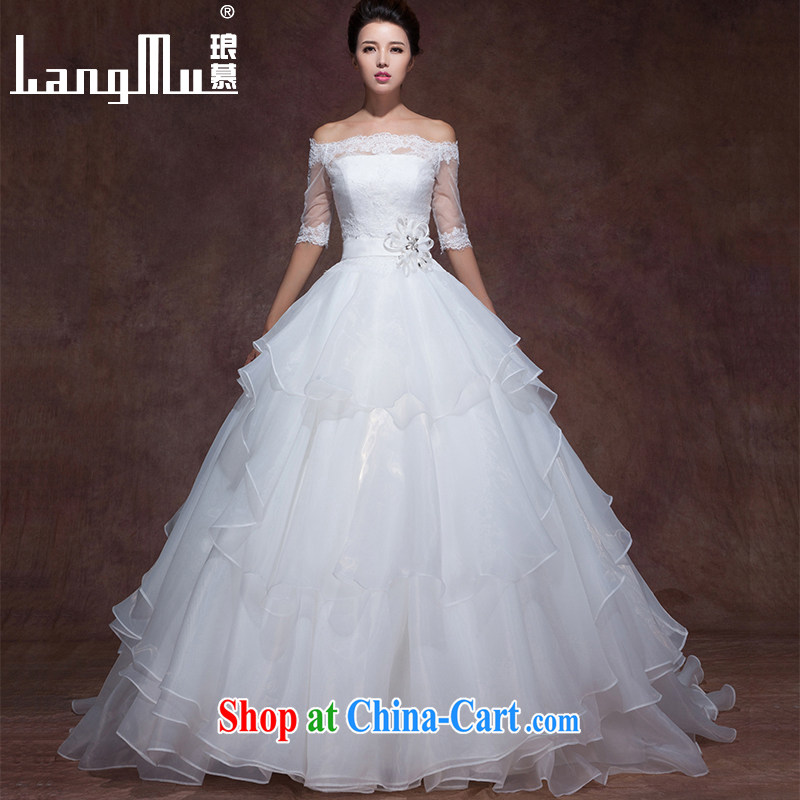 In Luang Prabang in 2015 of new wedding dresses the Field shoulder elegant minimalist wipe chest strap tail beauty graphics thin wedding custom wiped his chest with a highly customized