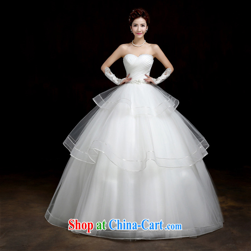 Su Wu edge new sweet retro tie-wiped off chest Korean Princess with winter brides new graphics thin wedding dresses white XL