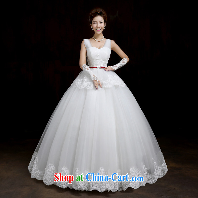 Su Wu 2015 leading edge new dual-shoulder wedding Korean lace stylish tie-in with the Code Wedding Video thin spring and summer wedding white XL