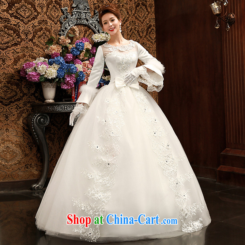 Su Wu edge 2015 new long-sleeved lace graphics thin marriage wedding long-sleeved tie-romantic bridal shaggy dress wedding dresses white XL