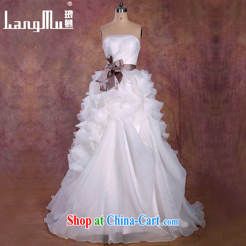 Luang Prabang in 2015 new wedding dresses vera Wang wiped his chest tail petal belt wedding retro small tail wedding Custom size custom