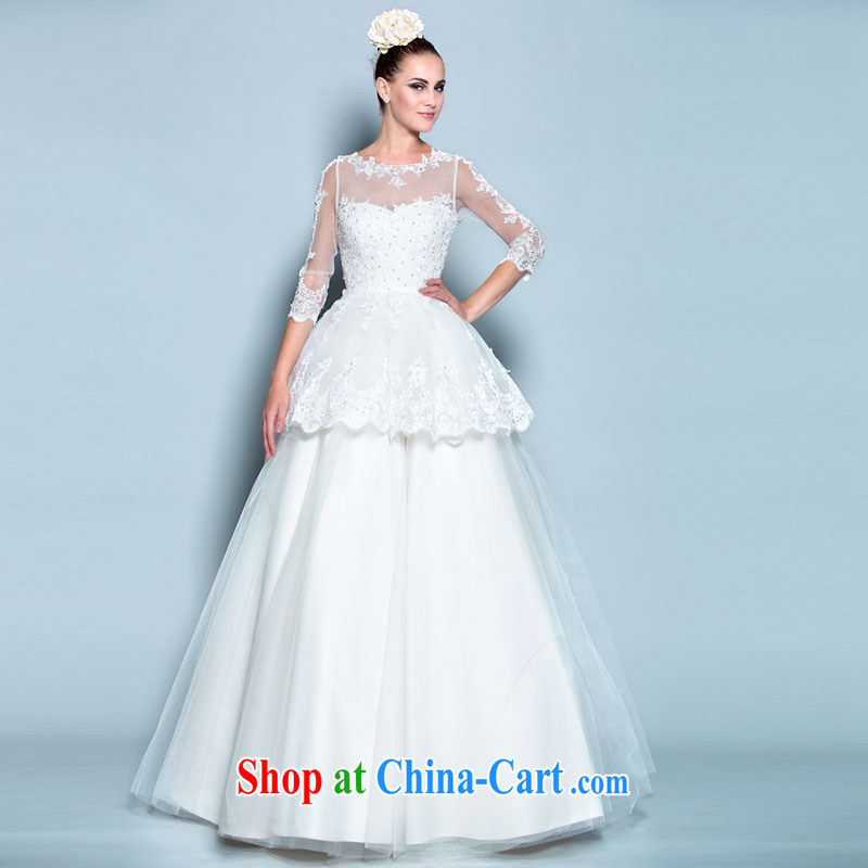 A lifetime by 2015 new, Japan, and the Republic of Korea the Field shoulder wedding lace retro 7 cuff shaggy skirt with pregnant women wedding 30140744 white M code in stock 160 /84 A