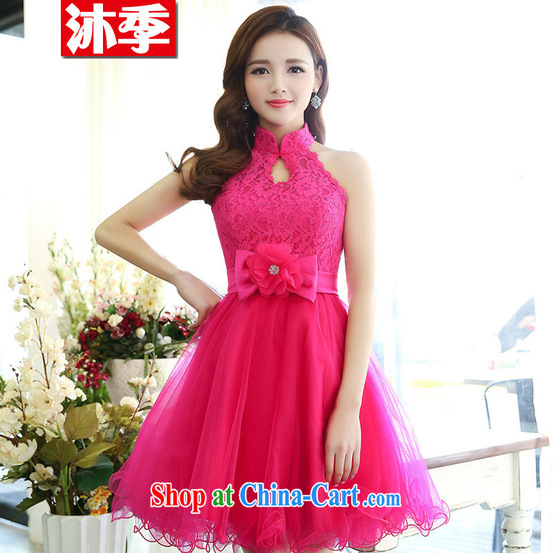 The world 2015 new small red dress is also toast Service Bridal short lace short dress beauty evening dresses of 1516 red XL