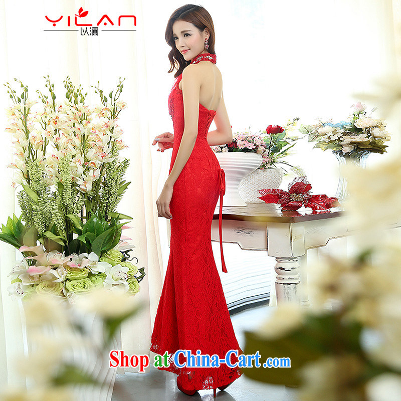 The World Summer 2015 Korean style is also tail wedding lace-up waist straps cultivating crowsfoot wedding dresses the 1513 red S
