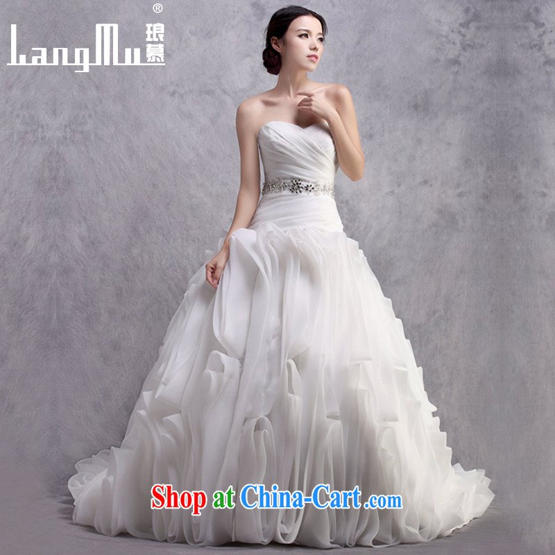 In Luang Prabang in 2015 OF NEW bare chest wedding dresses vera Wang style tail flowers wedding customized Wei, m White advanced customization