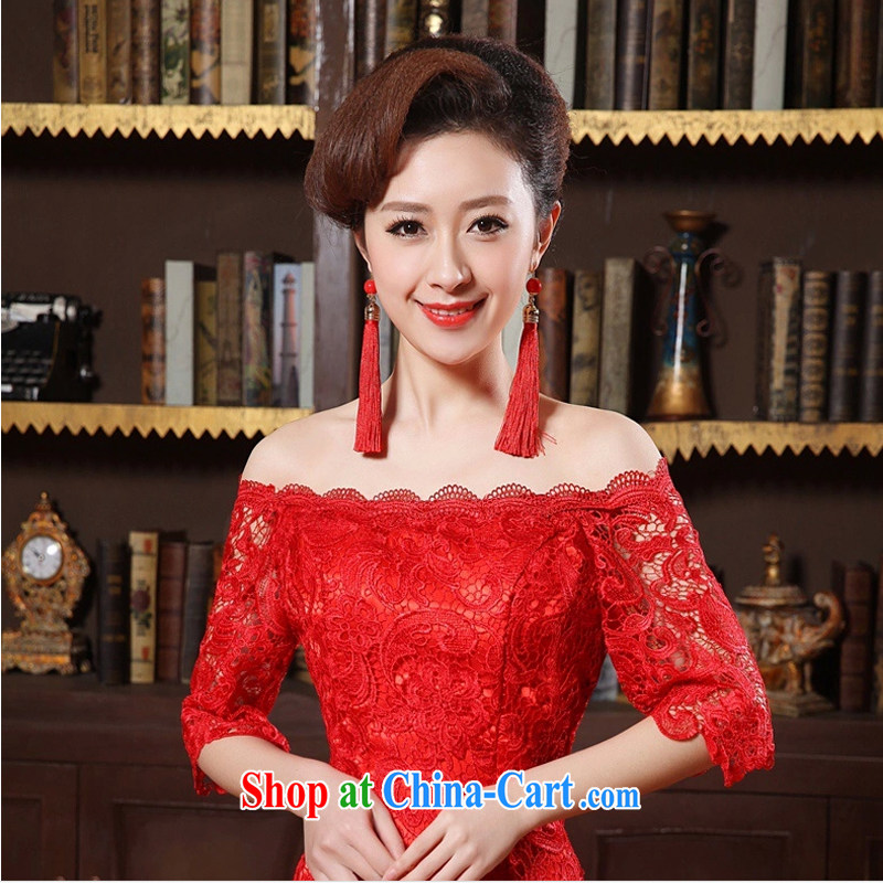 Honey, bride red earrings dresses wedding dresses and jewelry-earrings, Chinese-style long earrings red