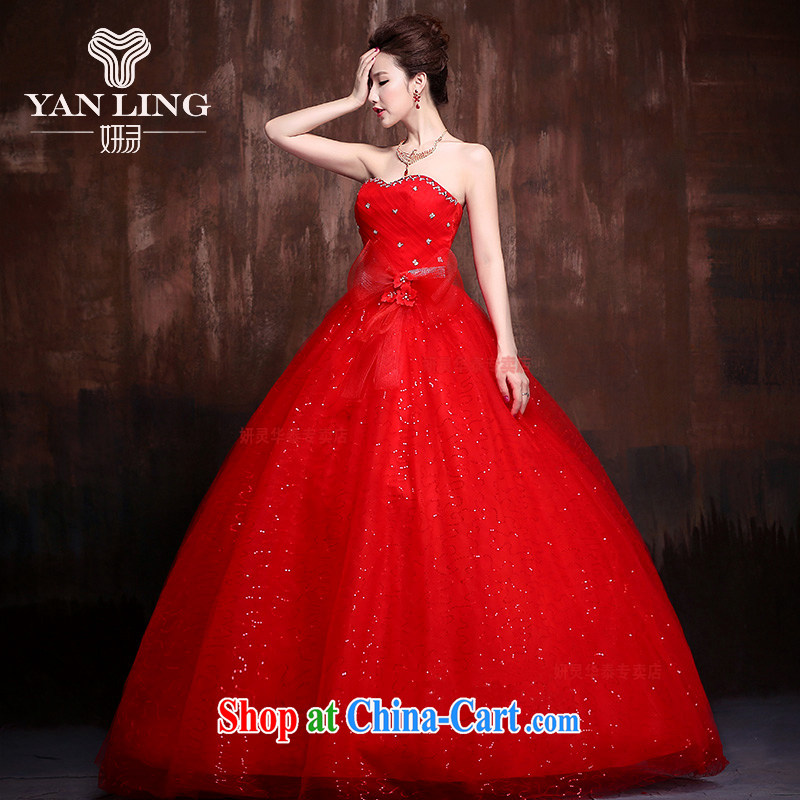 2015 new Korean Korean stars with sweet flowers marriages wedding dresses J 0013 red XL