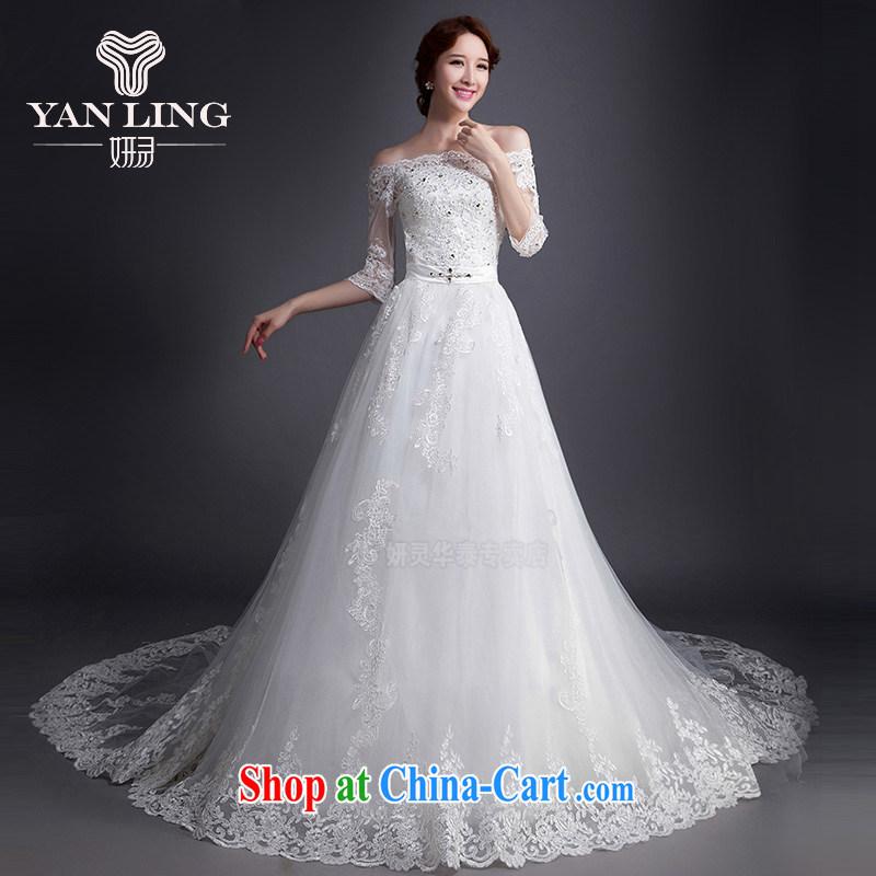 2015 Korean Style New High-waist bridal tail wedding V Mary Magdalene for chest strap dress WD 0009 white XL