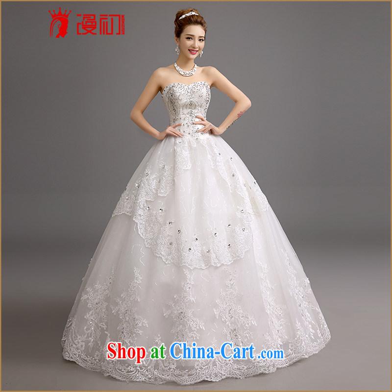 Early definition 2015 new wedding Korean-style Korean version wiped his chest, wedding romantic plain the US on-chip flash Diamond Wedding white XXL