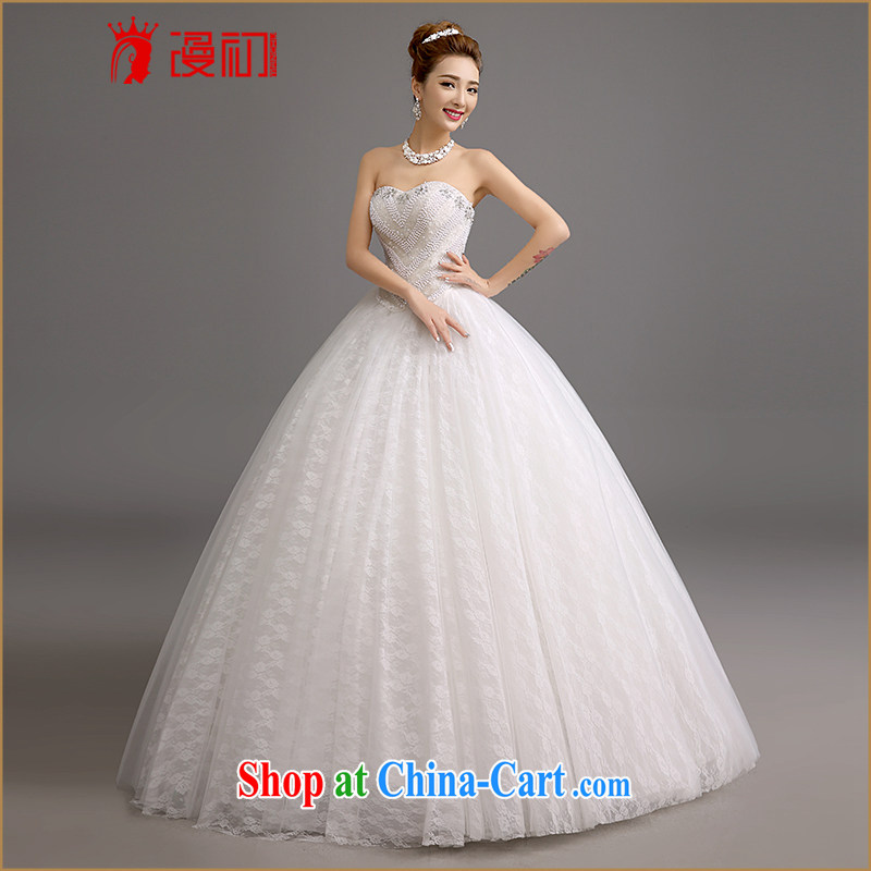Early definition 2015 new wedding Korean Korean version wiped his chest, wedding-Manual staple Pearl lace wedding white. Contact customer service