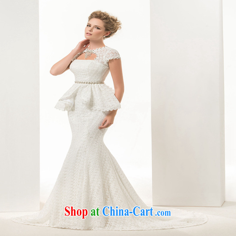 Hi Ka-hi 2015 new Korean Format a Field shoulder wedding dresses at Merlion wedding bridal lace small tail spring ivory left size tailored