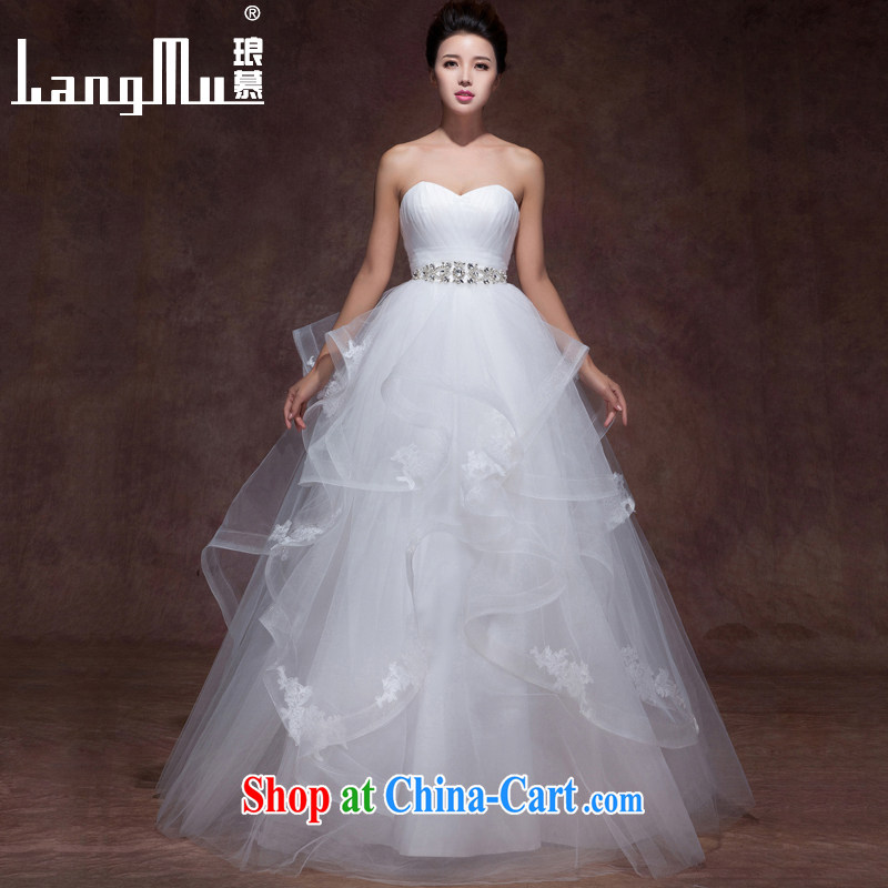 In Luang Prabang in 2015 OF NEW FIELD double-shoulder elegant minimalist wedding dresses lace, drill a strap with wedding popular wiped his chest, advanced customization