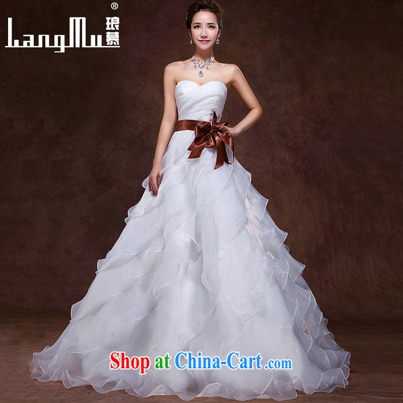 In Luang Prabang in the 2015 autumn and winter new wedding dresses Korean sweet Mary Magdalene bride chest with Princess stack tie, white advanced customization