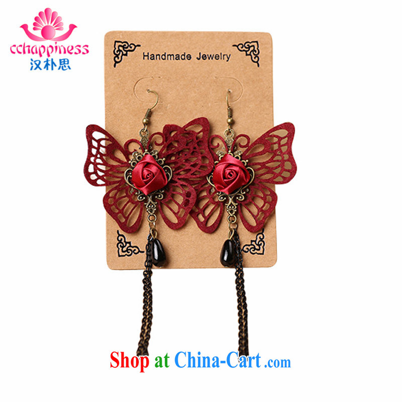 Han Park (cchappiness) new Korean Korean style flow, long earrings Pearl fine openwork wine red butterfly ear fall wedding red are code