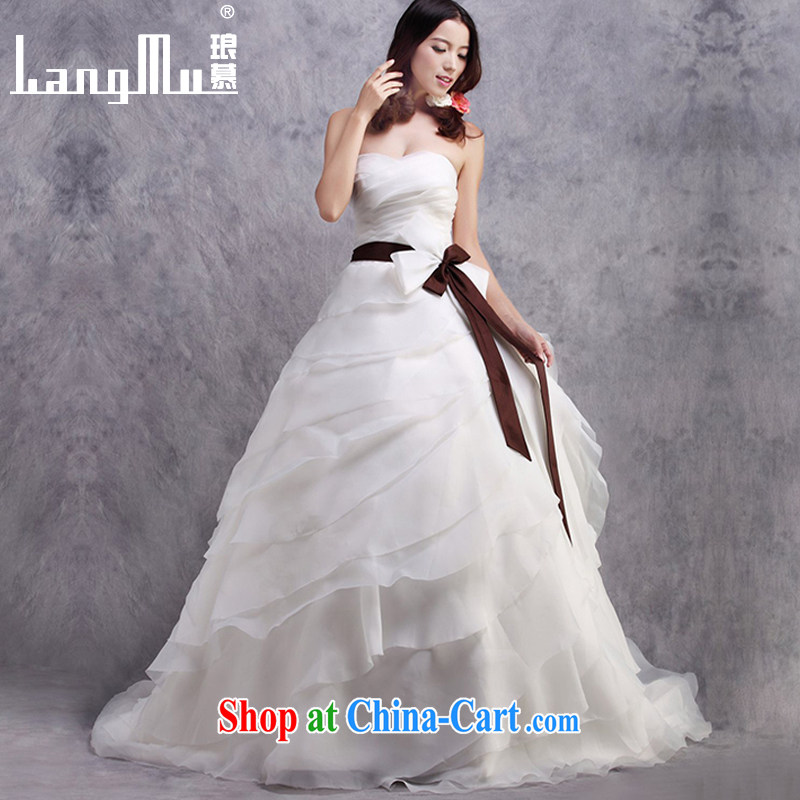 In Luang Prabang in 2015 OF NEW bare chest tail wedding dresses butterfly knot decor tail custom white advanced customization