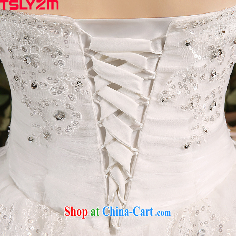 Bride Tslyzm wipe the chest tail wedding dresses 2015 Spring Summer parquet water drilling long drag to cultivating graphics thin wedding dress 120 CM trailing white XL, Tslyzm, shopping on the Internet