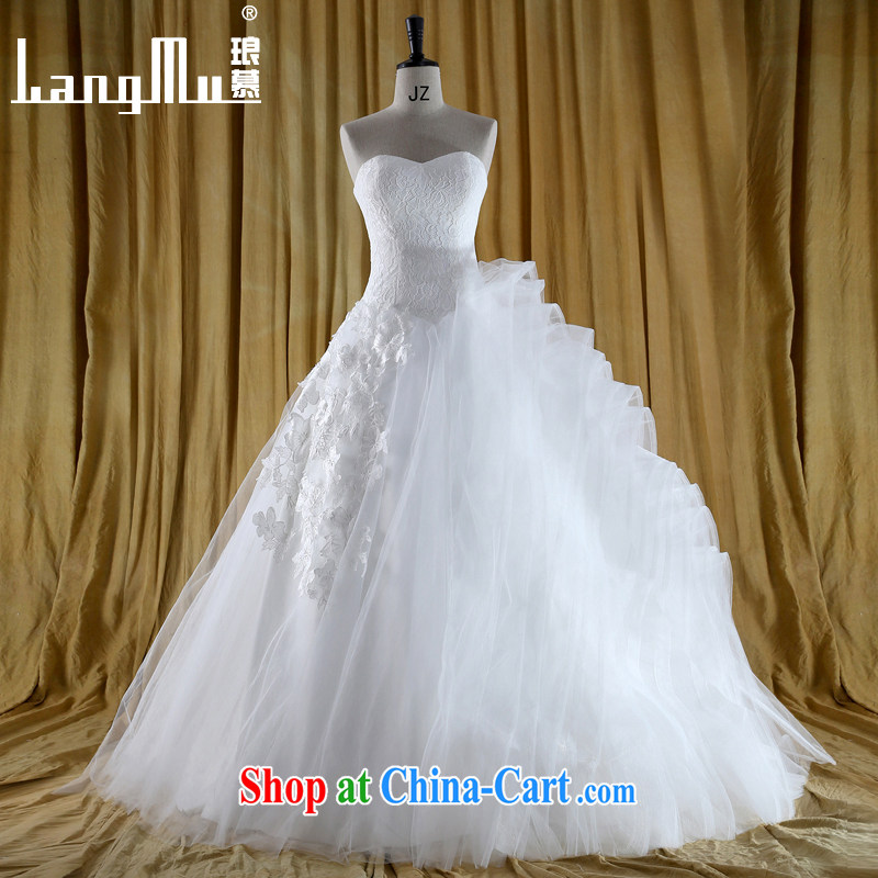 The lang 2015 new vera Wang new design cascading lace bare chest cascading tail wang Wei wedding dresses white advanced customization