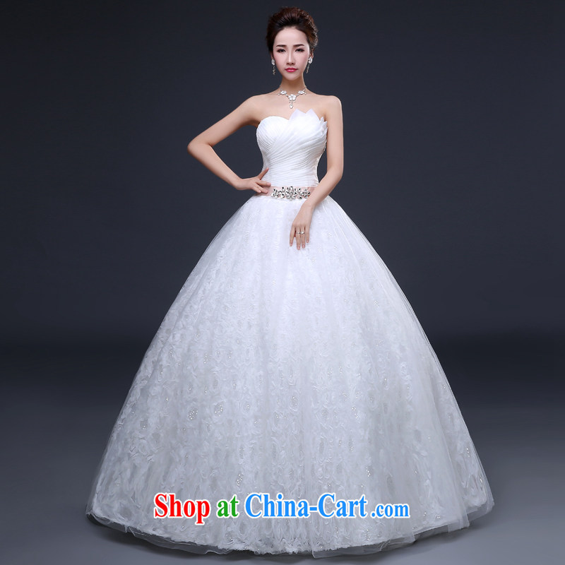 The Vanessa wedding dresses new white long erase chest wedding bridal marriage tie with wedding dresses Korean lace inserts drill video thin white long with wedding tailored _cannot be refunded, Oh_