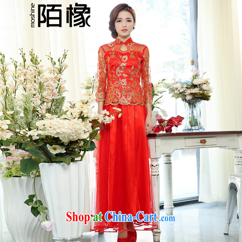 of the oak 2015 spring new cultivating two-piece long, collar, embroidery dress Chinese wedding dresses female D 503,071 red XXXL