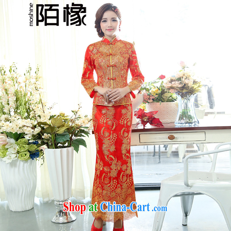 of Oak 2015 spring new cultivating ethnic wind long, two-piece dresses, Chinese wedding dresses female D 503,072 red XXXL