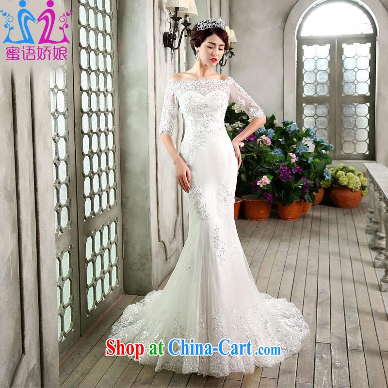 Honey, bride wedding tail 2015 new crowsfoot wedding a shoulder collar elegant Korean fashion, the cuff, wedding white XL