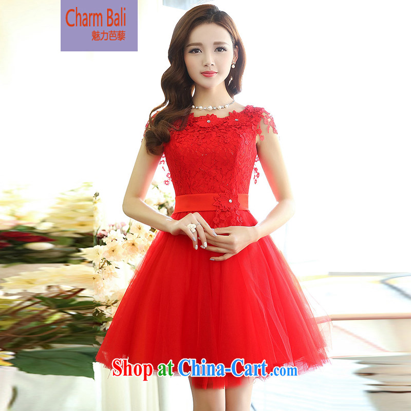 Hip Hop charm and Asia 2015 spring Korean beauty, gas round-collar sleeveless style shaggy chic dress wedding dress red M