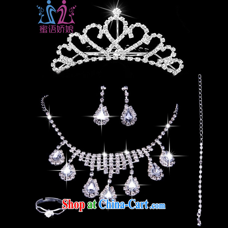 Honey, bride new bridal jewelry Korean-style wedding accessories Crown wedding water diamond necklace earrings rings bracelets 5 piece set