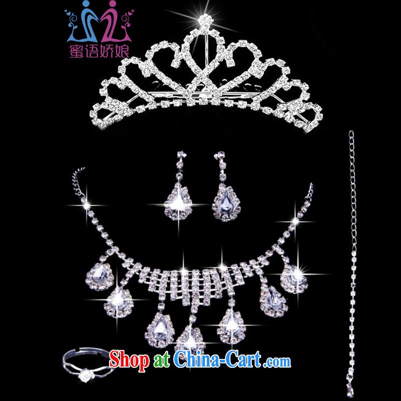 Honey, bride new bridal jewelry Korean-style wedding accessories Crown wedding water diamond necklace earrings rings bracelets 5 piece set