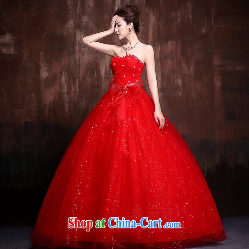 2015 new lace flash drill shoulder strap with skirts Princess bride wedding wedding dresses J 0014 red XL