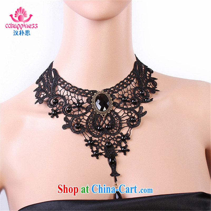 Han Park _cchappiness_ dress jewelry original luxury exaggerated black collarbone lace necklace women in Europe and America jewelry