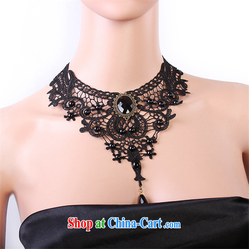 Han Park (cchappiness) dress and jewelry original luxury exaggerated his collarbone black lace necklace women in Europe and America, Han Park (cchappiness), online shopping