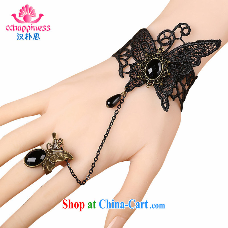 Han Park _cchappiness_ Europe antique palace and Gothic butterfly flower-lace Hand chain parquet crystal hand sash rings black are code