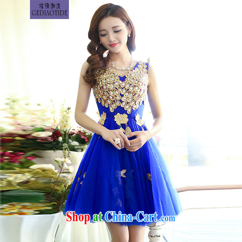 Style trends 2015 Spring and Autumn Korean shoulders water-soluble lace light drill straps bridal wedding dress bridesmaid dress dress toast girl blue XL