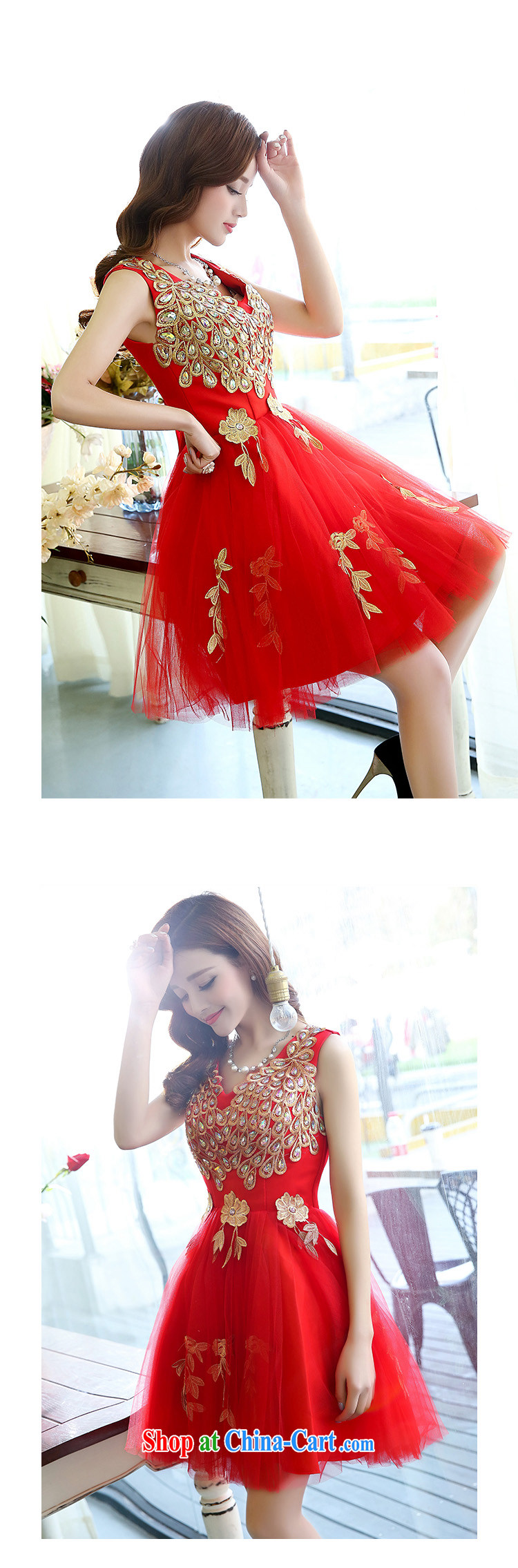 2015 Spring and Autumn Korean shoulders water-soluble lace light drill straps bridal wedding dresses bridesmaid dress uniform toast girl red M pictures, price, brand platters! Elections are good character, the national distribution, so why buy now enjoy more preferential! Health