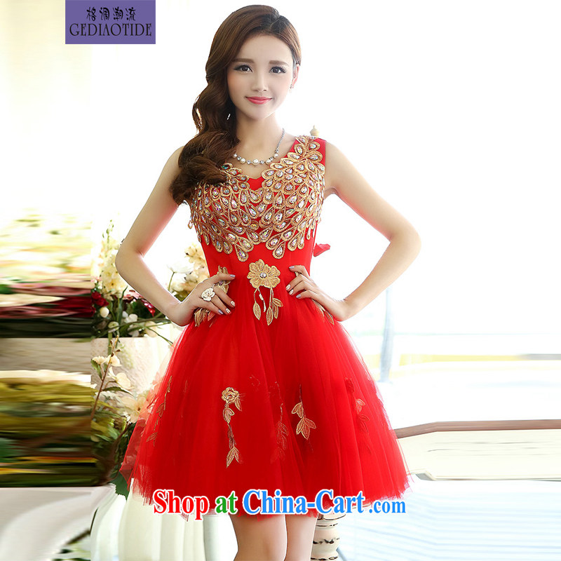 2015 Spring and Autumn Korean shoulders water-soluble lace light drill straps bridal wedding dresses bridesmaid dress uniform toast Women's red M