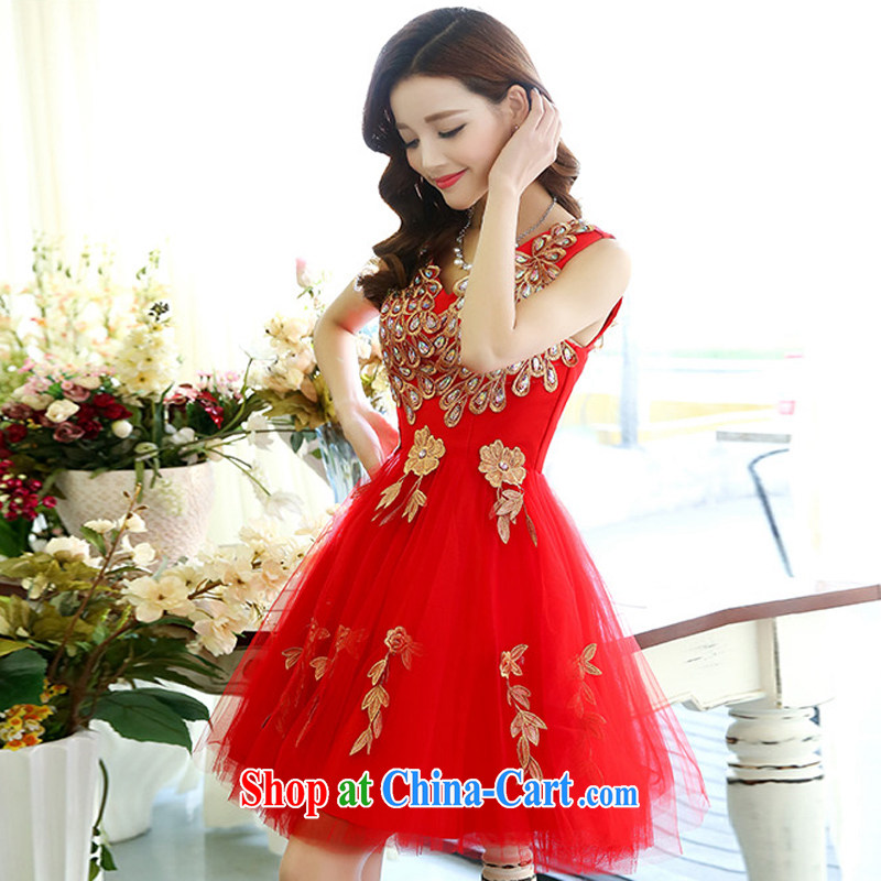 2015 Spring and Autumn Korean shoulders water-soluble lace light drill strap bridal wedding dresses bridesmaid dress uniform toast Women's red M, charm and Barbara (Charm Bali), online shopping