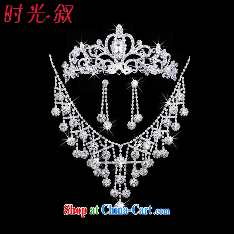 Time Syria Luxury European-style Crown necklace earrings 3-piece kit and jewelry wedding accessories bridal wedding service performed cosmetic and Jewelry ornaments wedding jewelry gift set 3 piece set
