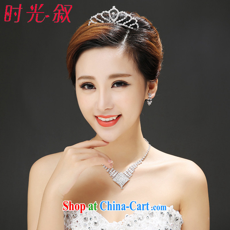 Time his new bride marriage Crown necklace earrings diamond silver necklace luxury combined wood drill wedding accessories jewelry gift box 3 piece set