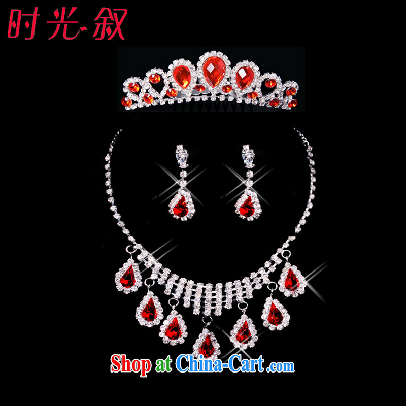 Time his bride's jewelry and ornaments ornaments for red Crown necklace earrings 3-piece kit jewelry hair accessories wedding wedding accessories jewelry gift set 3 piece set