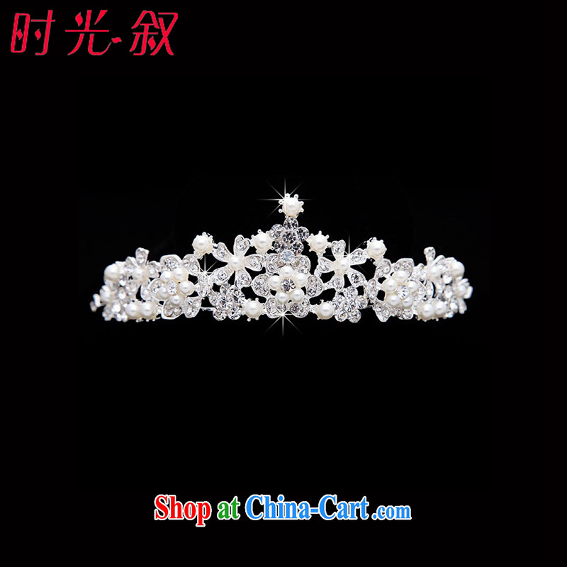 Time his bride's head-dress for Pearls Jewelry water drilling Crown jewelry hair accessories wedding wedding jewelry wedding dresses large crown Korean manual marriage hair accessories Crown